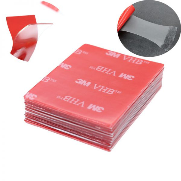 10pc 3M Transparent Tape Rubber Foam Double Sided Adhesive Strong Paste Red Transparent Bottom Office Stationery - Nano Tape